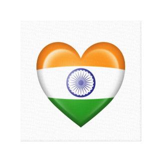 Bandera india del corazón en blanco impresion en lona