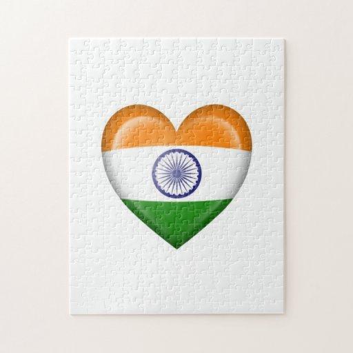 Bandera india del corazón en blanco puzzles con fotos