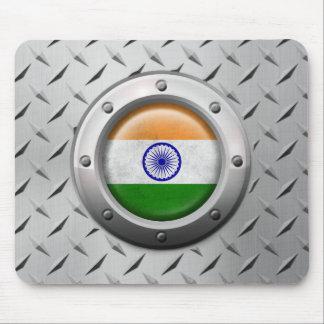 Bandera india industrial con el gráfico de acero alfombrilla de raton