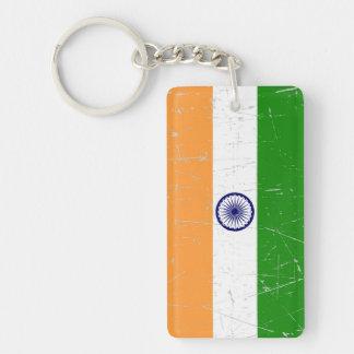 Bandera india rascada y rasguñada llaveros