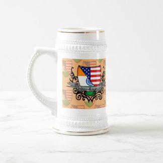 Bandera Indio-Americana del escudo Jarra De Cerveza