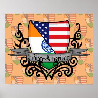 Bandera Indio-Americana del escudo Poster