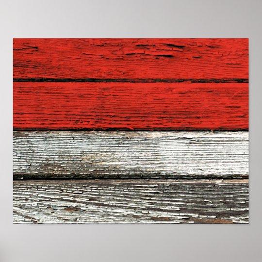 Bandera indonesia con efecto de madera áspero del  póster