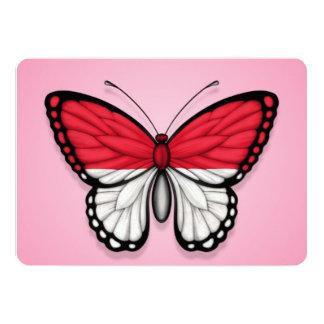 """Bandera indonesia de la mariposa en rosa invitación 5"""" x 7"""""""