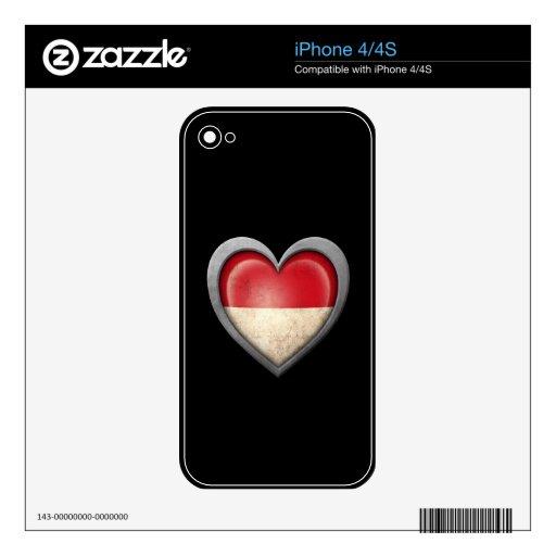 Bandera indonesia del corazón con efecto del metal iPhone 4S calcomanías