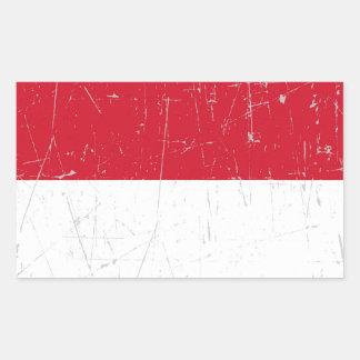 Bandera indonesia rascada y rasguñada pegatina rectangular