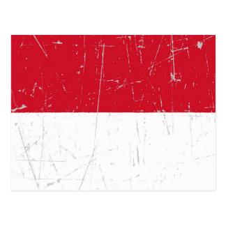 Bandera indonesia rascada y rasguñada postales