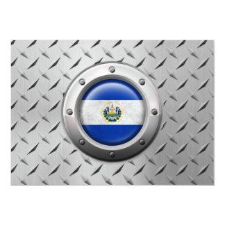 """Bandera industrial de El Salvador con el gráfico Invitación 5"""" X 7"""""""