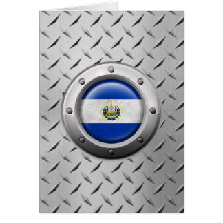 Bandera industrial de El Salvador con el gráfico Tarjeta De Felicitación