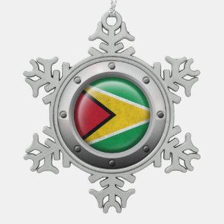 Bandera industrial de Guyana con el gráfico de Adorno De Peltre En Forma De Copo De Nieve