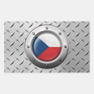 Bandera industrial de la República Checa con el Pegatina Rectangular