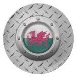 Bandera industrial Galés con el gráfico de acero