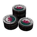 Bandera industrial Galés con el gráfico de acero Fichas De Póquer