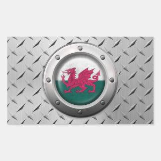 Bandera industrial Galés con el gráfico de acero Pegatina Rectangular