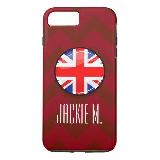 Bandera inglesa BRITÁNICA de la ronda brillante Funda iPhone 7 Plus