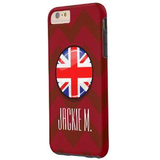 Bandera inglesa BRITÁNICA de la ronda brillante Funda Resistente iPhone 6 Plus