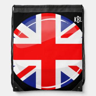 Bandera inglesa BRITÁNICA de la ronda brillante Mochilas