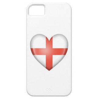 Bandera inglesa del corazón en blanco iPhone 5 cárcasa