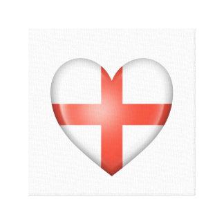 Bandera inglesa del corazón en blanco impresiones en lienzo estiradas