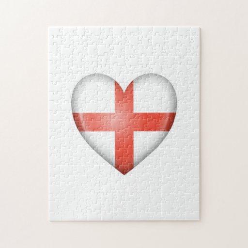 Bandera inglesa del corazón en blanco puzzle con fotos