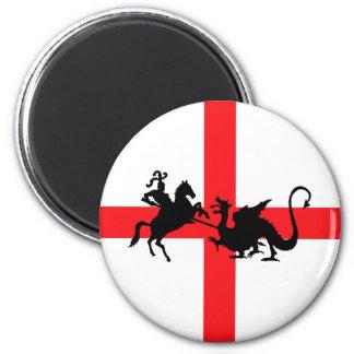 Bandera inglesa George y el dragón Imán Redondo 5 Cm