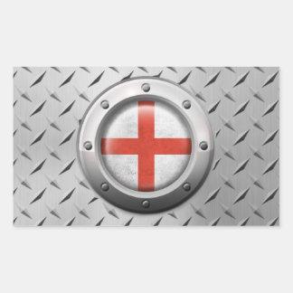 Bandera inglesa industrial con el gráfico de acero pegatina rectangular