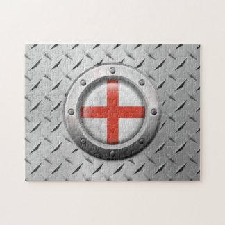 Bandera inglesa industrial con el gráfico de acero rompecabeza