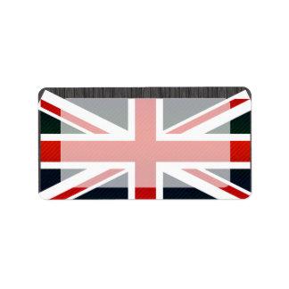 Bandera inglesa pelada moderna etiqueta de dirección