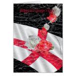 Bandera inglesa y rosas del día de San Jorge blanc