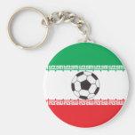 Bandera iraní con llavero del balón de fútbol