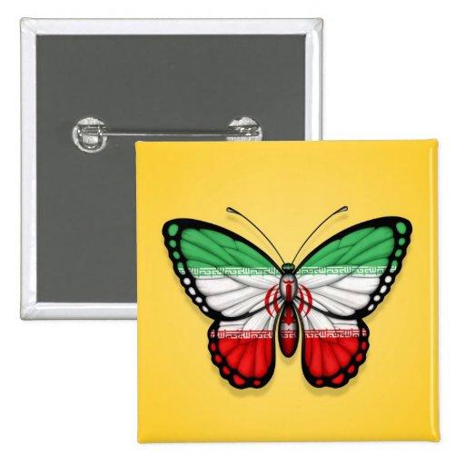 Bandera iraní de la mariposa en amarillo pin