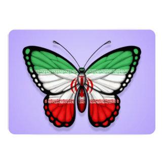 """Bandera iraní de la mariposa en púrpura invitación 5"""" x 7"""""""