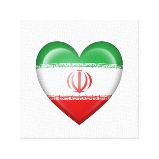 Bandera iraní del corazón en blanco impresiones en lona