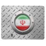 Bandera iraní industrial con el gráfico de acero cuaderno grapado