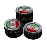Bandera iraní industrial con el gráfico de acero fichas de póquer