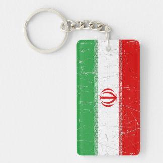 Bandera iraní rascada y rasguñada llaveros