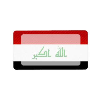 Bandera iraquí pelada moderna etiquetas de dirección