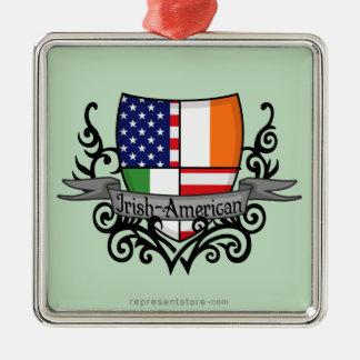 Bandera Irlandés-Americana del escudo Adorno Navideño Cuadrado De Metal