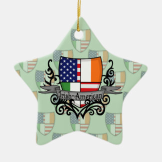 Bandera Irlandés-Americana del escudo Adorno Navideño De Cerámica En Forma De Estrella