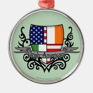 Bandera Irlandés-Americana del escudo Adorno Navideño Redondo De Metal