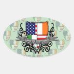 Bandera Irlandés-Americana del escudo Calcomania Oval