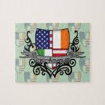 Bandera Irlandés-Americana del escudo Puzzle