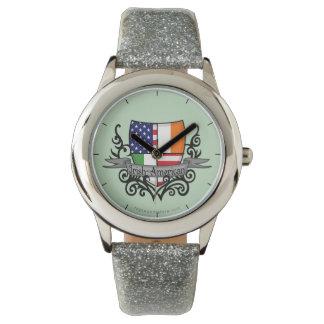 Bandera Irlandés-Americana del escudo Relojes De Mano