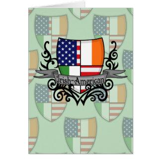 Bandera Irlandés-Americana del escudo Tarjeta Pequeña