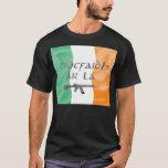 Bandera irlandesa con la camiseta del lá del ár