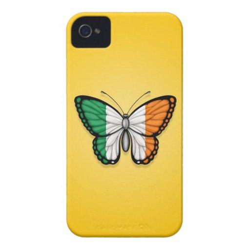 Bandera irlandesa de la mariposa en amarillo iPhone 4 Case-Mate cárcasa