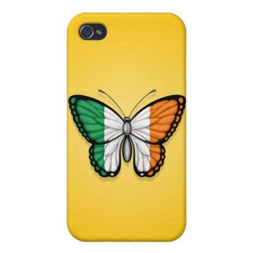 Bandera irlandesa de la mariposa en amarillo iPhone 4/4S carcasas