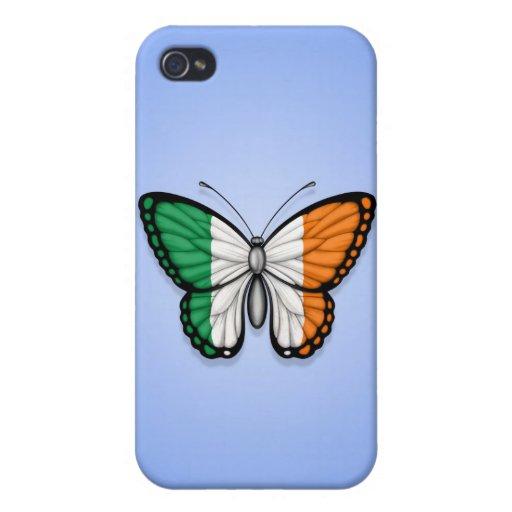 Bandera irlandesa de la mariposa en azul iPhone 4 carcasa