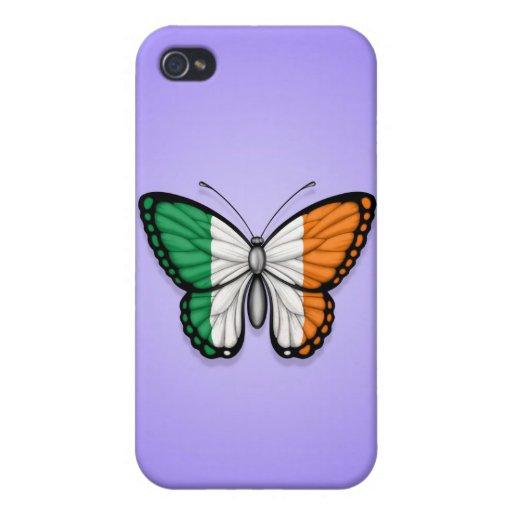 Bandera irlandesa de la mariposa en púrpura iPhone 4 carcasas