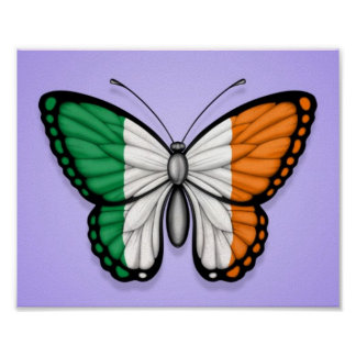 Bandera irlandesa de la mariposa en púrpura impresiones